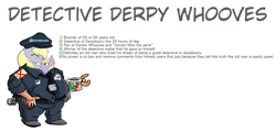 Size: 2469x1187 | Tagged: safe, artist:thomas müller, oc, oc only, oc:detective derpy whooves, clothes, coffee, derpibooru, donut, fat, male, police officer, police uniform, shoes, simple background, solo, text, white background