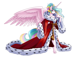 Size: 5700x4355 | Tagged: safe, artist:spiderweber, princess celestia, alicorn, anthro, crystal pony, plantigrade anthro, pony, alternate hairstyle, barefoot, bathrobe, beautiful, bedroom eyes, breasts, busty princess celestia, cleavage, clothes, elegant, ermine, eye clipping through hair, eyebrows visible through hair, eyelashes, feet, female, fur trim, hair bun, lips, lipstick, looking at you, mare, pink eyes, pinklestia, pose, red lipstick, robe, sash, seductive, seductive look, sexy, solo, spread wings, stupid sexy celestia, sultry pose, wings