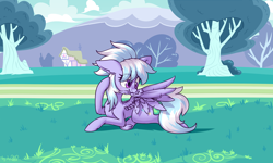 Size: 3600x2160 | Tagged: safe, artist:dsp2003, cloudchaser, pegasus, pony, blushing, cloud, commission, cute, feather, female, grooming, lying down, lying on the ground, mare, outdoors, ponyville, preening, prone