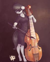 Size: 1000x1240   Tagged: safe, artist:mannybcadavera, octavia melody, anthro, earth pony, unguligrade anthro, black dress, bow (instrument), clothes, dress, eyes closed, female, mare, playing instrument, solo, viola, viola da gamba
