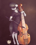 Size: 1000x1240 | Tagged: safe, artist:mannybcadavera, octavia melody, anthro, earth pony, unguligrade anthro, black dress, bow (instrument), clothes, dress, eyes closed, female, mare, playing instrument, solo, viola, viola da gamba