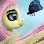 Size: 3000x3000 | Tagged: safe, artist:palibrik, fluttershy, butterfly, pegasus, pony, cute, feather, female, looking at each other, mare, shyabetes, smiling