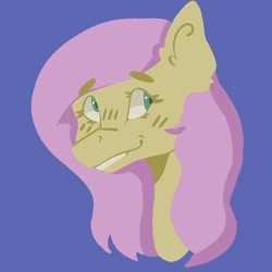 Size: 768x768 | Tagged: safe, artist:dellieses, fluttershy, pegasus, pony, blue background, bust, female, mare, simple background, smiling