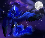 Size: 1548x1308 | Tagged: artist needed, safe, princess luna, alicorn, pony, female, full moon, glowing horn, hoof shoes, horn, mare, moon, night, solo, two toned wings, wings