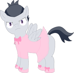 Size: 1943x1922 | Tagged: safe, artist:poniidesu, rumble, pegasus, pony, /mlp/, ballerina, clothes, colt, crossdressing, drawthread, frown, male, request, shoes, simple background, solo, transparent background