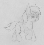 Size: 2024x2072 | Tagged: safe, artist:wapamario63, verity, earth pony, pony, female, happy, monochrome, ponified, simple background, sketch, solo, traditional art, trotting, white background
