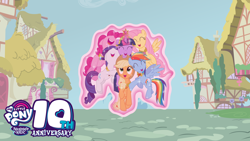 Size: 8000x4500 | Tagged: safe, artist:chief pone, applejack, fluttershy, pinkie pie, rainbow dash, rarity, twilight sparkle, earth pony, pegasus, pony, unicorn, background, background tree, cute, eyes closed, eyes open, female, floating, group, group hug, happy birthday mlp:fim, houses, hug, logo, magic, magic aura, mane six, mare, mlp fim's tenth anniversary, mlp friendship is magic, multicolored hair, pegasus wings, pink hair, ponyville, rainbow hair, smiling, town, tree, wings