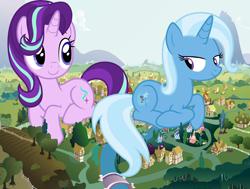 Size: 1280x968 | Tagged: safe, artist:agent751, artist:famousmari5, artist:hellswolfeh, starlight glimmer, trixie, oc, oc:checkerboard, pony, behaving like a cat, female, giant pony, giantess, lesbian, macro, shipping, startrix