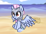 Size: 947x702 | Tagged: safe, artist:neuro, oc, oc only, crystal pony, pegasus, pony, armor, beach, crystal guard, crystal guard armor, cute, female, guardsmare, helmet, mare, ocean, royal guard, sand castle, sitting, solo, spread wings, water, wings