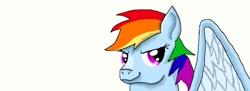 Size: 1051x384   Tagged: safe, artist:maverickmam, rainbow dash, pegasus, pony, bust, derpibooru import, female, mare, simple background, solo, white background