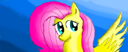 Size: 1051x435   Tagged: safe, artist:maverickmam, fluttershy, pegasus, pony, abstract background, bust, cute, derpibooru import, female, mare, shyabetes, solo