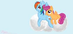 Size: 902x427   Tagged: safe, artist:maverickmam, rainbow dash, scootaloo, pegasus, pony, cloud, derpibooru import, duo, female, filly, mare, on a cloud