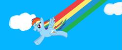 Size: 1237x513   Tagged: safe, artist:maverickmam, rainbow dash, pegasus, pony, cloud, derpibooru import, female, flying, mare, rainbow trail, solo