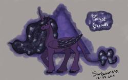 Size: 1280x800   Tagged: safe, artist:stargazerseven, alicorn oc, oc, oc only, oc:cosmos, alicorn, pony, derpibooru import, ethereal mane, galaxy mane, horn, male, raised hoof, signature, solo, stallion, wings