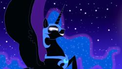 Size: 1120x630 | Tagged: safe, artist:stargazerseven, nightmare moon, alicorn, pony, bust, derpibooru import, ethereal mane, female, glowing eyes, helmet, mare, night, peytral, solo, starry mane, stars