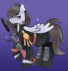 Size: 976x1029 | Tagged: safe, artist:reallycoykoifish, oc, oc only, pegasus, badass, derpibooru import, ear piercing, earring, female, grey hair, gun, jewelry, mare, military, military pony, military uniform, piercing, rifle, simple background, weapon, white pony, wings