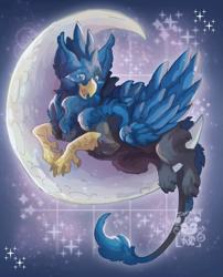 Size: 1669x2061   Tagged: safe, artist:iza pug, oc, oc only, oc:eid, griffon, beak, derpibooru import, griffon oc, male, male oc, moon, paws, solo, stars, tail, talons, tangible heavenly object, wings