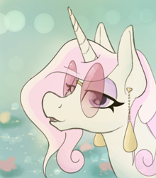 Size: 2025x2303 | Tagged: safe, artist:skydiggitydive, fleur-de-lis, pony, unicorn, bust, ear piercing, earring, female, glasses, horn, jewelry, lidded eyes, looking at you, mare, piercing, portrait, retro glasses, solo, sunglasses