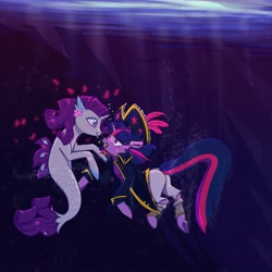 Size: 4043x4044 | Tagged: safe, artist:kerpupu, rarity, twilight sparkle, pony, seapony (g4), unicorn, my little pony: the movie, blushing, clothes, coat, female, hat, heart, lesbian, mare, pirate outfit, rarilight, seaponified, seapony rarity, shipping, species swap, underwater