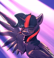 Size: 1920x2087 | Tagged: safe, artist:kerpupu, twilight sparkle, twilight sparkle (alicorn), alicorn, pony, crepuscular rays, eyes closed, female, glasses, hooves, horn, mare, smiling, solo, wings