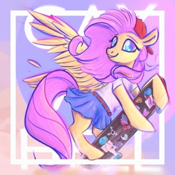 Size: 2000x2000 | Tagged: safe, artist:kerpupu, fluttershy, pegasus, pony, abstract background, backwards ballcap, baseball cap, bipedal, bipedal leaning, cap, clothes, female, hat, leaning, looking at you, mare, skateboard, skirt, solo, wings