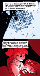 Size: 1900x3600 | Tagged: safe, artist:tallaferroxiv, oc, oc only, pony, 2 panel comic, comic, female, mare, newbie artist training grounds, simulation, solo, space station, spaceship, spacesuit, text, this ended in death