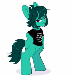 Size: 3438x3600 | Tagged: safe, artist:tallaferroxiv, oc, oc only, earth pony, pony, bipedal, clothes, female, hoof on hip, looking at you, mare, newbie artist training grounds, shirt, simple background, t-shirt, unimpressed, white background