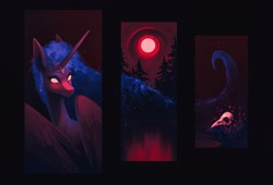 Size: 2233x1516 | Tagged: safe, artist:koviry, derpibooru import, princess luna, alicorn, pony, blood moon, full moon, moon, solo