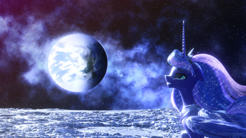 Size: 1920x1080 | Tagged: safe, artist:etherium-apex, derpibooru import, princess luna, alicorn, pony, 3d, blender, blender eevee, featured image, female, moon, photoshop, solo, space