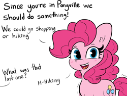 Size: 1280x975   Tagged: safe, artist:tjpones, derpibooru import, edit, pinkie pie, earth pony, pony, dialogue, female, looking at you, mare, offscreen character, propositioning, questionable source, shivering, simple background, solo, solo female, talking to viewer, white background