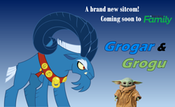 Size: 2292x1403 | Tagged: safe, artist:fercho262, derpibooru import, grogar, sheep, advertisement, antagonist, baby yoda, beard, collar, cute, discovery family, discovery family logo, eyebrows, facial hair, fangs, glare, grogu, horns, male, poster, ram, sitcom, spoilers for another series, star wars, the mandalorian