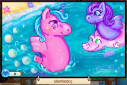 Size: 932x623 | Tagged: safe, artist:sharkledog, derpibooru import, oc, oc only, pony, sea pony, beach, duo, floaty, g1, water
