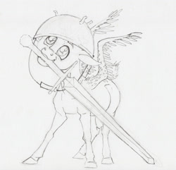 Size: 2000x1930 | Tagged: safe, artist:lady-limule, derpibooru import, oc, oc only, pegasus, pony, colt, grayscale, helmet, inktober 2017, male, monochrome, mouth hold, pegasus oc, solo, sword, traditional art, weapon, wings