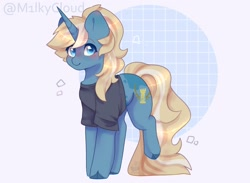 Size: 1280x939 | Tagged: safe, artist:m1lkycloud, derpibooru import, oc, oc:maple parapet, pony, unicorn, clothes, female, mare, shirt, solo