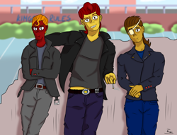 Size: 1410x1080   Tagged: safe, artist:shypuppy, derpibooru import, oc, human, amputee, background, cigarette, clothes, digital art, eyepatch, greaser, humanized, jacket, leather jacket, male