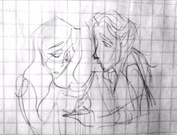 Size: 2048x1563 | Tagged: dead source, safe, artist:smol_andriusha, derpibooru import, discord, fluttershy, human, bust, clothes, discoshy, female, graph paper, grayscale, humanized, male, monochrome, shipping, straight, traditional art