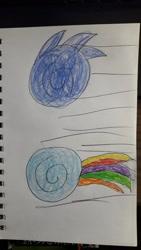 Size: 1280x2276 | Tagged: safe, artist:infinitydragon900, derpibooru import, rainbow dash, pegasus, pony, ball, crossover, female, male, mare, motion lines, rainball, rolling, sonic the hedgehog, sonic the hedgehog (series), spin dash, traditional art