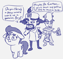 Size: 1106x1043 | Tagged: safe, artist:heretichesh, derpibooru import, oc, oc:f.illy, earth pony, human, pony, clothes, crash bandicoot, dialogue, doctor neo cortex, female, filly, gloves, mad scientist, monochrome, n brio, potion, rubber gloves, scared, sketch, text, vial