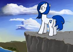 Size: 1132x821 | Tagged: safe, artist:lazymort, derpibooru import, oc, oc only, pony, cliff, sky, solo