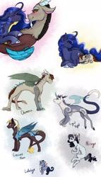 Size: 1280x2240 | Tagged: safe, artist:periwinklechick, derpibooru import, discord, princess luna, oc, oc:chimera, oc:cresent moon, oc:frigid night, oc:lullabye, oc:mirage, alicorn, draconequus, hybrid, pony, female, half-siblings, interspecies offspring, lunacord, male, mare, offspring, parent:discord, parent:princess luna, parent:tree hugger, parents:lunacord, parents:treecord, shipping, straight