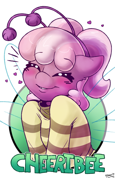 Size: 1237x1912 | Tagged: safe, artist:skoon, cheerilee, bee, earth pony, pony, antennae, badge, blushing, cheeribee, cheeribetes, clothes, cute, eyes closed, featured image, female, heart, mare, shirt, simple background, smiling, solo, white background