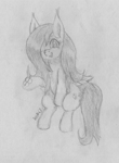 Size: 2374x3240 | Tagged: safe, artist:wapamario63, fluttershy, butterfly, pegasus, pony, cute, female, hair over one eye, happy, mare, monochrome, one eye closed, shyabetes, sitting, solo, traditional art