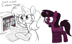 Size: 2057x1274 | Tagged: safe, artist:whydomenhavenipples, ponybooru exclusive, oc, oc only, oc:heart drive, pony, unicorn, butt freckles, duality, featured image, female, freckles, glasses, mare, partial color, ponybooru, ponybooru mascot, simple background, socks, white background