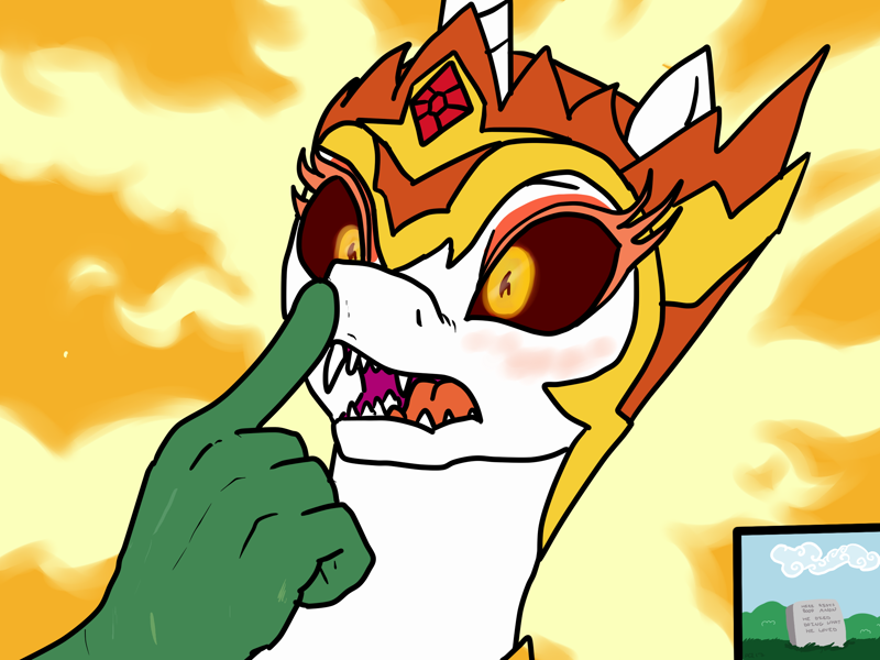 Size: 2400x1800   Tagged: safe, artist:pony quarantine, daybreaker, oc, oc:anon, alicorn, human, pony, a royal problem, 4chan, blushing, boop, crown, cute, dead, diabreaker, drawthread, epitaph, fangs, featured image, fire, grass, grave, gravestone, hand, implied death, implied murder, jewel, jewelry, noseboop, open mouth, regalia, scar, suprised look, teeth, this ended in death, this will end in death, this will end in tears and/or death