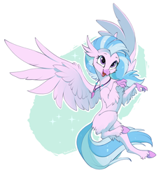 Size: 1104x1200 | Tagged: safe, artist:hioshiru, silverstream, classical hippogriff, hippogriff, school daze, colored hooves, cute, diastreamies, female, flying, heart eyes, jewelry, necklace, open mouth, realistic horse legs, simple background, smiling, solo, white background, wingding eyes