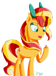 Size: 1280x1752 | Tagged: safe, artist:tlmoonguardian, derpibooru import, sunset shimmer, bunny ears, easter, easter egg, holiday, simple background, solo, transparent background