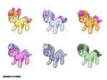 Size: 640x480 | Tagged: safe, artist:darkdoomer, apple bloom, diamond tiara, scootaloo, silver spoon, sweetie belle, oc, oc:anon filly, pony, accessories, cute, female, filly, isometric, pixel art