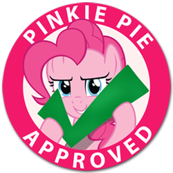 Size: 300x300 | Tagged: safe, artist:9qsm78, pinkie pie, earth pony, pony, check, felt check, meme, seal of approval, solo