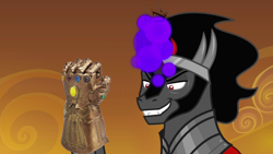 Size: 1366x768   Tagged: safe, derpibooru import, edit, edited screencap, screencap, king sombra, pony, unicorn, the beginning of the end, infinity gauntlet, meme