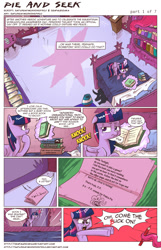 Size: 1010x1568 | Tagged: safe, artist:saturdaymorningproj, pinkie pie, twilight sparkle, twilight sparkle (alicorn), alicorn, pony, comic:pie and seek, bed, book, comic, dexter's laboratory, female, mare, trollface